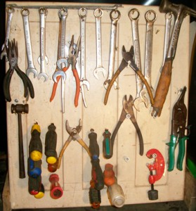 Cabinet Door Repurposed into Tool Holder