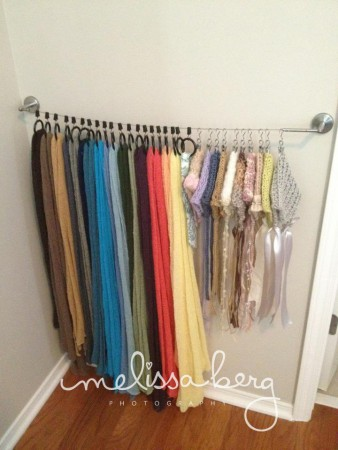 Scarves on a Tension Rod