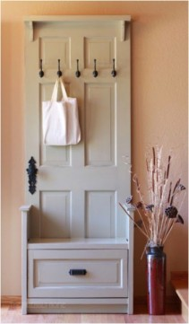 Door Repurposed into Entryway Organizer