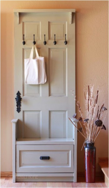 Door Repurposed into Entryway Organizer