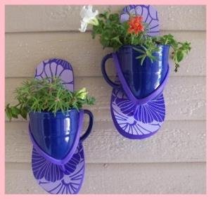 flip flop saucer flower pot