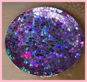 Mosaic Tile Birdbath Using DVDs