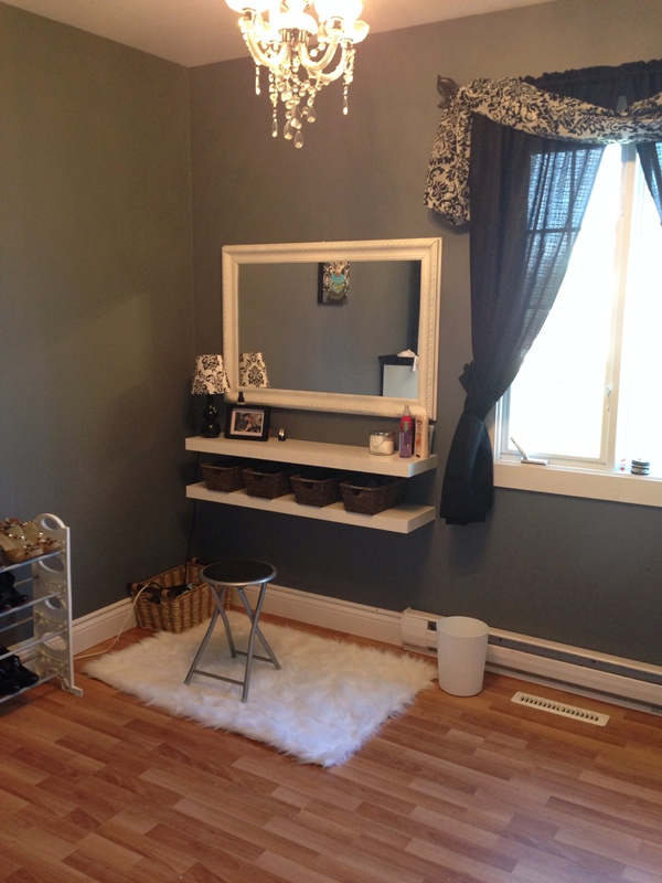 Shelves and Mirror Vanity. Make Your Own Make Up Vanity   Small Town DIY