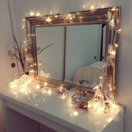 Vanity with Lights and Ribbons