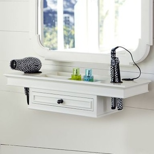 vanity with straightner storage